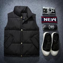 Lovers of autumn and winter coat collar cotton vest men loose cotton vest for men and women's Korean tide S black