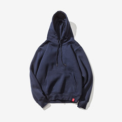 Tide brand male Hooded Sweater autumn Korean solid youth student movement loose couple code Pullover Jacket [Collection Plus shopping cart priority delivery] Tibet Navy