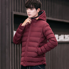 Male Korean winter winter coat thick young students winter cotton men down jacket overcoat short XL Wine red [717 paragraph]
