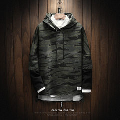The wind of autumn and winter Harajuku male hooded sweater cashmere Hoodie Size with thick loose couple tide brand boys sports coat 4XL W17161 army green