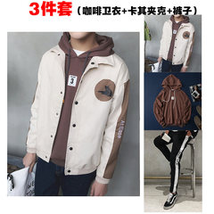 2017 young boys jacket coat in autumn in spring and autumn students relaxed all-match trend Korea handsome thin clothes 3XL The cat Khaki jacket + pants sweater + coffee
