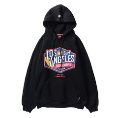 Male hooded sweater and hip hop street with velvet wind tide brand oversize ulzzang Harajuku lovers coat 3XL black