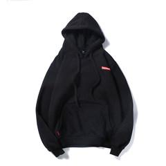Aberdeen @ Korean literary men in autumn and winter men plus velvet sleeve head hoodie coat jacket thick loose tide 3XL black