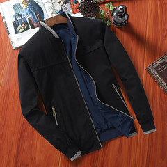 Every day special cotton, middle-aged and elderly men's coat thin, spring and autumn coat, wearing a pair of middle-aged loose jacket, Dad installed 3XL 015 black