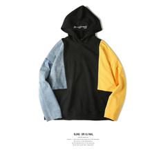 BJHG exclusive hip-hop OVERSIZE loose patchwork denim hoodie coat Metrosexual embroidery M Blue yellow