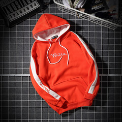 2017 new winter Mens hooded sweater cashmere turtleneck and student fashion jacket with cap boys loose clothes 3XL Y41 orange red