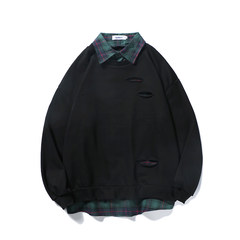@ Aberdeen literary men fall head hole set Korean students tide fake two coat sweater long sleeved baggy clothes S black