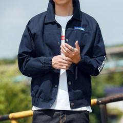 2017 spring and autumn coat boys handsome coat all-match thickening trend of Korean new slim fall jacket S Dark blue medium