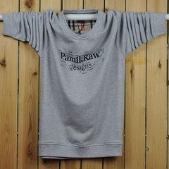 Spring and autumn Men Sport thin sweater Color Long Sleeve Shirt XL T-shirt coat fat fat L [recommendation 130~150 Jin] Pamik [light grey]