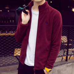 [] collar CARDIGAN SWEATER MENS day special offer sports lovers Fleece Jacket Autumn Winter Fleece. It's too big for velvet. Please take a smaller size Claret