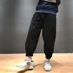 In autumn, the new version of Korean embroidery is loose, nine points pants, Japanese retro black clothes, casual pants, broad pants pants men S Classic black