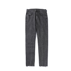 Japanese New Style Men's pure blue jeans in autumn and winter S black
