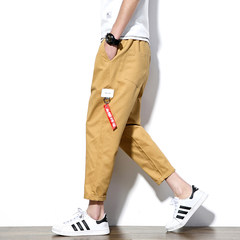 Nine point pants men's autumn broad leg casual pants, big size loose pants, Haren pants, Korean pants, pants, fat 9 points pants tide 3XL Khaki