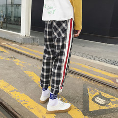 Fall Korean Ulzzang plaid pants pants, men BF wind loose pants, Korean students leisure pants tide M lattice