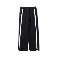 Japanese new style loose pants, broad leg pants, long Style Men's winter college sports pants S black