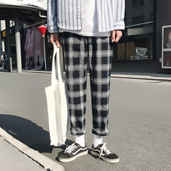 South Korea ins same style Plaid loose leg pants, men and women Korean version of Hong Kong Wind nine cents straight casual pants movement tide M black