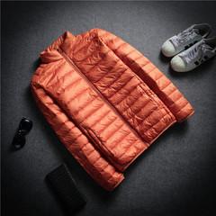 A thin season down jacket collar men size ultra slim slim down youth short jacket 3XL Orange collar men