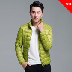 2017 new winter light jacket collar male hooded size ultra thin and light young slim jacket 3XL Fruit green