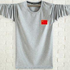 A middle-aged male long sleeved T-shirt autumn fat XL T-shirt coat collar set loose fat autumn clothing primer fir 6XL recommends 220-240 Jin Light grey flag