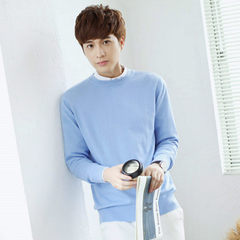 V men's cashmere sweater collar head and solid size thick wool sweater T-shirt bottoming sweaters men 3XL Light blue [round neck]