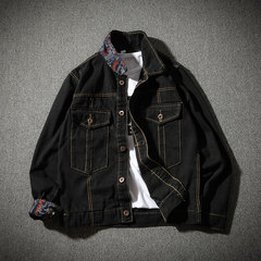 2017 autumn jacket, jeans jacket, men's big coat, Korean version of students, handsome trend, men's autumn clothing M black