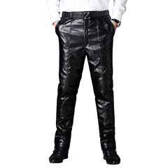 In autumn and winter in elderly men with thick waterproof leather pants cashmere motorcycle loose warm large size male leather pants Unclear contact customer service black