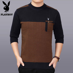 The winter middle-aged man neck sweater sweater thickened elderly father father put code warm sweaters 165 suggestions 100-120 catties Navy blue A-3