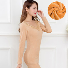 The winter thermal underwear with thickened slim lady cashmere cotton long johns student body tight backing suit Elasticity super good about 80-100 catties 1820 skin color