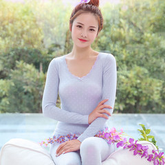 Long johns female lace collar V thin body tight girls underwear bottoming cotton sweater suit Collection of baby socks (send priority delivery) Lavender