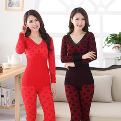 Long johns female thin cotton suit student winter cotton underwear slim body tight cotton sweater Size (height 155-170 weight 80-135) Red + crimson