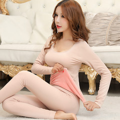 Thermal underwear lady with velvet body tight long johns suit cotton cotton sweaters in winter Collection Plus send socks Round neck skin color