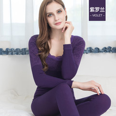 Female underwear with tight t-shirt size body suit cashmere cotton sweater backing long johns winter F (80-110 kg) violet