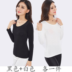 Modal female autumn clothing piece long sleeved shirt personal tights Blouse Size thin cotton winter XL (135-155 Jin) Black + white