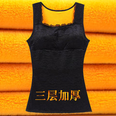 Autumn and winter warm cotton vest with cashmere lady in wearing tight underwear vest body abdomen chest supporting base XL (75~95 Jin) 6003 black