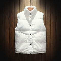 Feather cotton vest male winter slim handsome young lovers all-match trend of Korean social spiritual guy coat 3XL 666 white