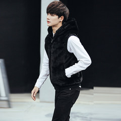 Code sleeveless Hooded Jacket imitation mink cashmere fur vest vest male cultivation in autumn and winter increased trend Korea Kanjian 3XL black