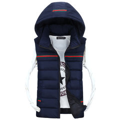 Fall down cotton gilet vest vest Korean couple hooded sleeveless vest and padded jacket tide 3XL Blue 605 paragraph