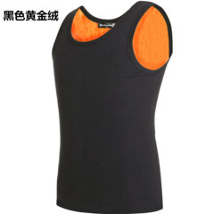 Winter men's warm vest, gold velvet underwear, double fine cashmere, cashmere thickening, big code cotton, self-cultivation, personal vest L (100-120 Jin) Black gold
