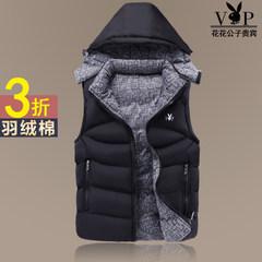 A man down cotton vest and dandy thickened vest vest vest warm Korean male female tide 3XL black