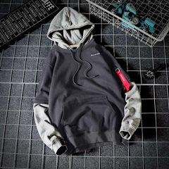 Men's Hooded Sweater fall thick loose trend of Korean students who BF ulzzang long winter coat 2XL Dark grey