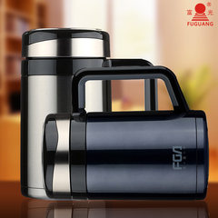 Fulkwong stainless steel thermos cup with handle cup office 400ML large capacity ms.man filter tea cup Blue ink