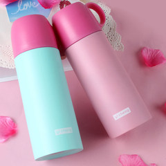 Thermos cup, stainless steel thermos bottle with cover, portable cup, children's school, lovely hot water tea cup Pink 500ml