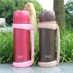 Fulkwong airpots 1000 ml vacuum travel pot outdoor 1 liters of large capacity stainless steel kettle vehicle Color send cup brush + detergent