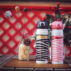 Authentic Korean cup, bear tide, Pink Zebra, personality, straight drinking cup, thermos cup, beaker, male and female children's Cup Female designers send cups