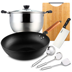 Baig stainless steel pot with refined iron wok set household kitchen knife kitchen set combination knife Baig wok 7 sets