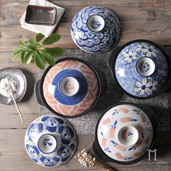 Creative personality with Japanese style and hand-painted blue and white ceramic tableware nutrition stew soup pot pot rice A- red arrow