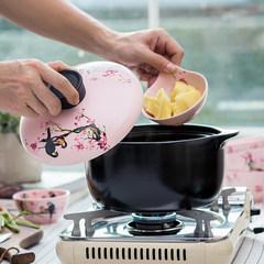 Chinese flower and bird casserole stew soup home fire high temperature ceramic pot stew stone pot pot rice cooker Magpie jump plum tip 2.5L heat resistant casserole Pink