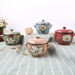 【玉泉】 新品韩式陶瓷炖盅 隔水燕窝补品炖煲 家用煮粥煲汤炖锅 浅绿色/不含勺