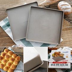 Baking 28cm Square Gold non stick metal baking dish, cake roll, biscuit pizza, tin cake baking plate, baking mould FB10152