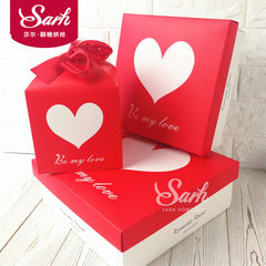 Valentine's day red and white square shaped gift box, cartoon heart shaped packaging box, wedding love candy gift box Trumpet ribbon box